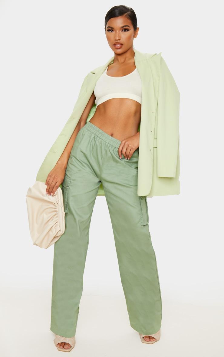 Sage Green Wide Leg Cargo Pants 1