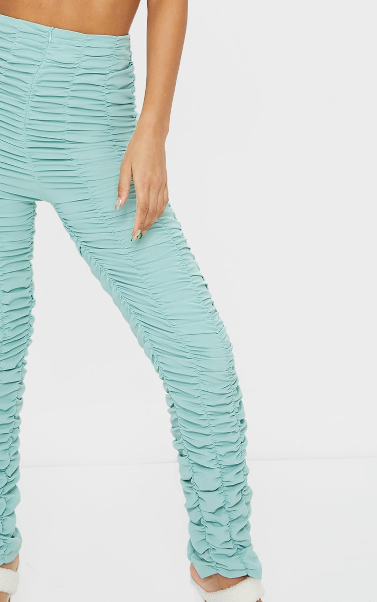 Washed Green Ruched Leg Woven Skinny Pants 4
