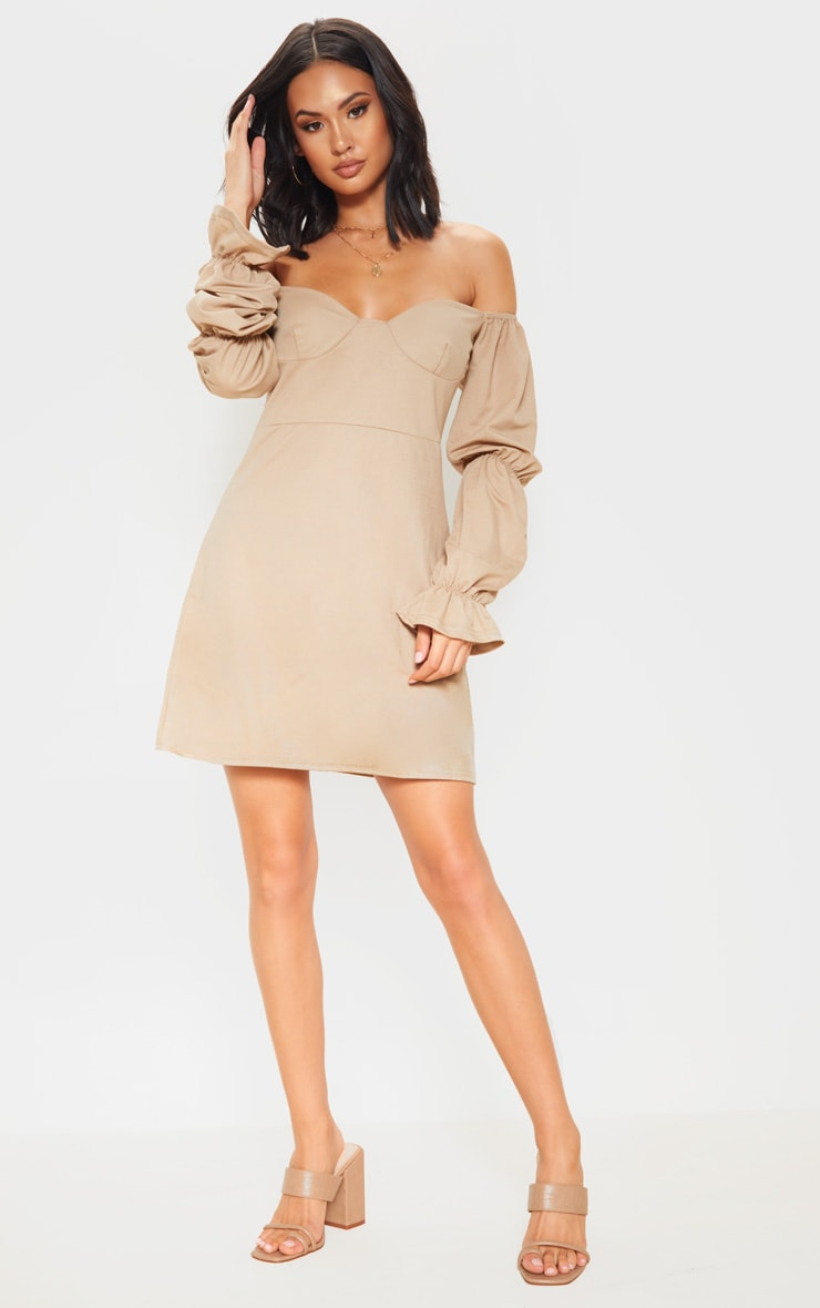 Stone Cup Detail Tiered Sleeve Shift Dress 4