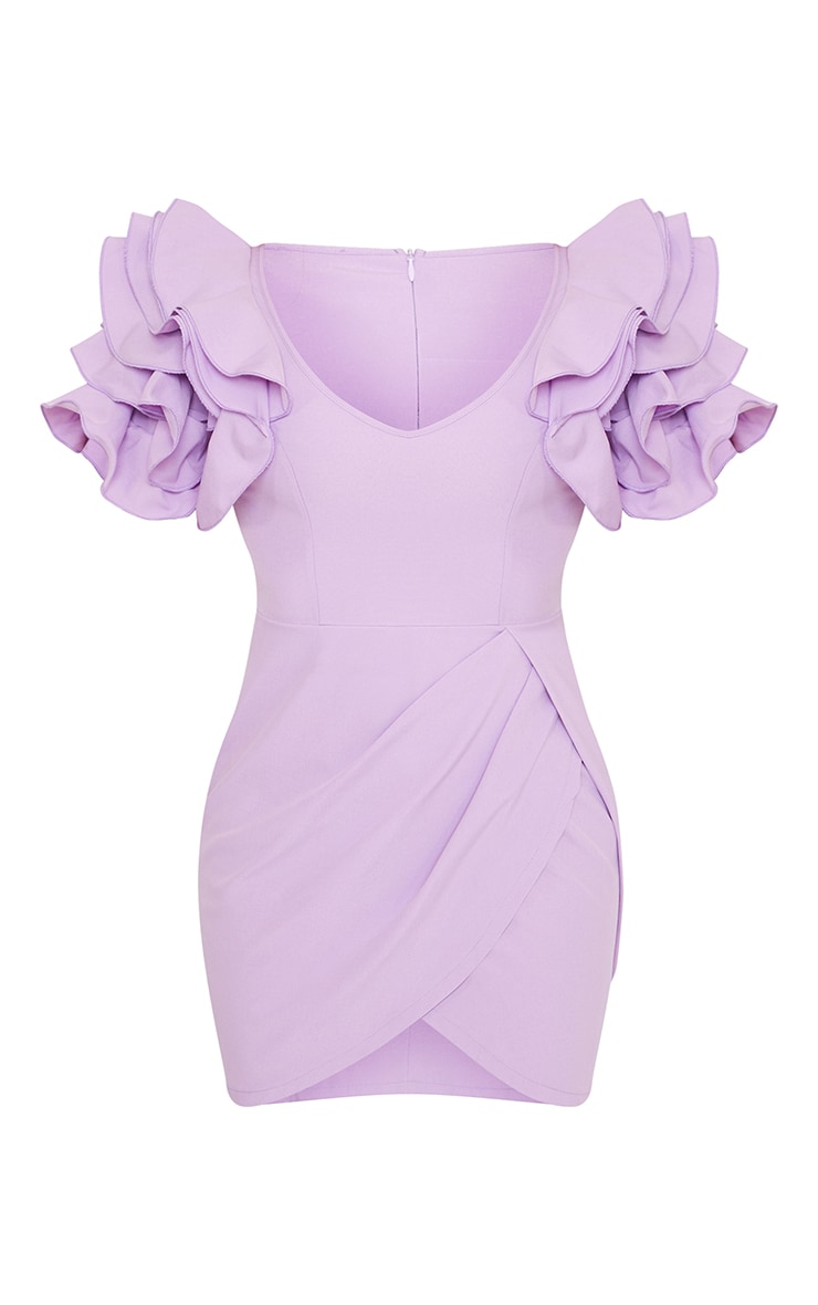 Lilac Frill Sleeve V Neck Bodycon Dress 5