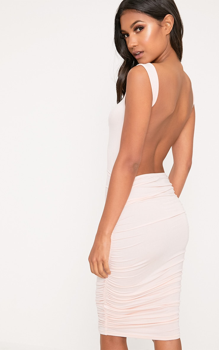 Nude Open Back Ruched Midi Dress 1