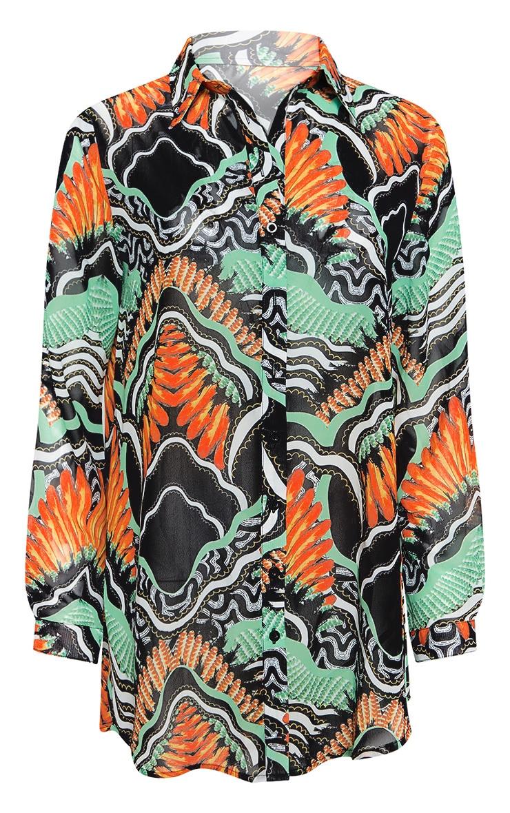 Chemise de plage à imprimé tribal noir 3
