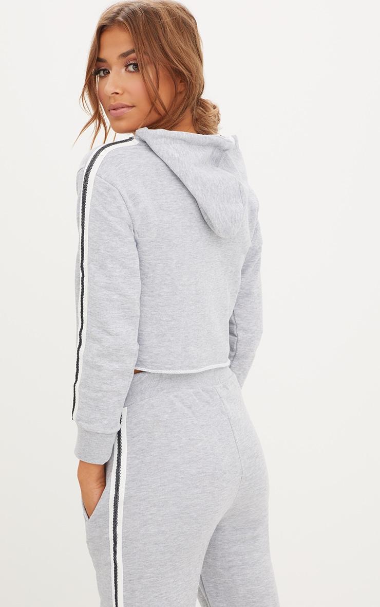 Grey Marl  Side Stripe Hoodie 2