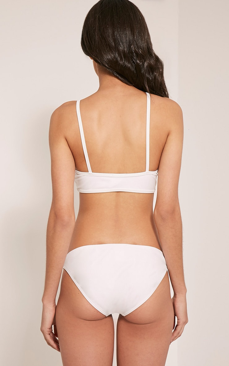 Praya White Lace Up Bikini Top 1