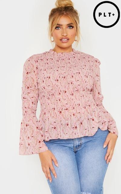 54c5f3f2160b Plus Rose Floral Shirred Frill Hem High Neck Blouse PrettyLittleThing  Sticker