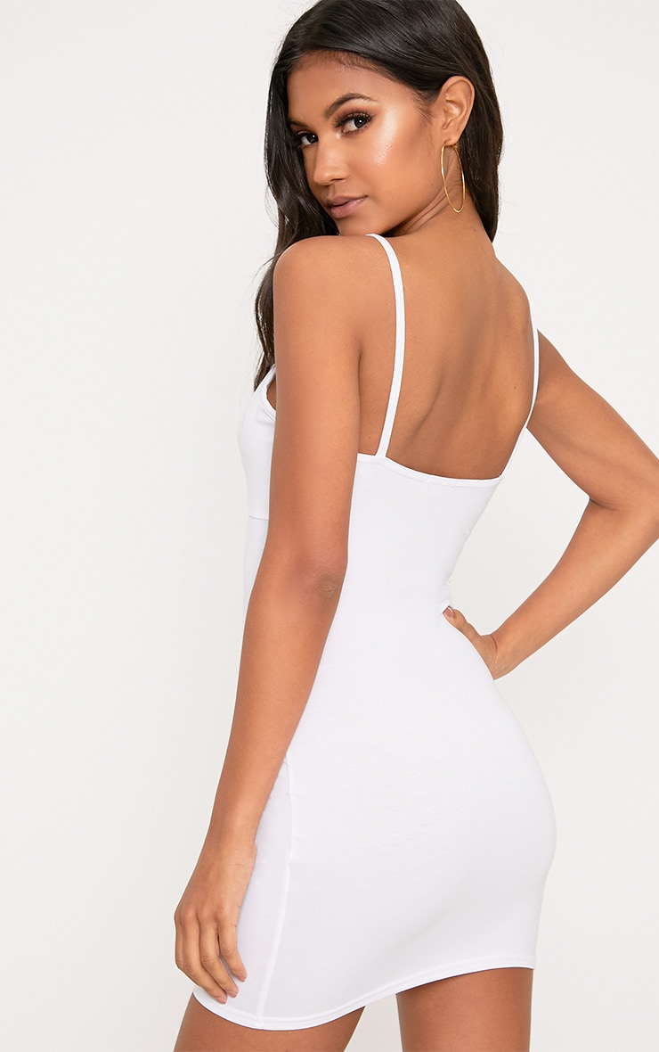 Riana White Strap Detail Bodycon Dress 2