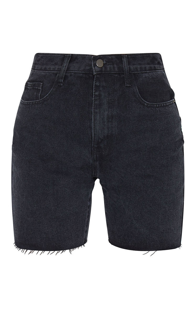 PRETTYLITTLETHING Washed Black Longline Fitted Denim Shorts 6