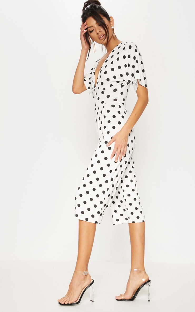 White Polka Dot Bat Wing Culotte Jumpsuit 4