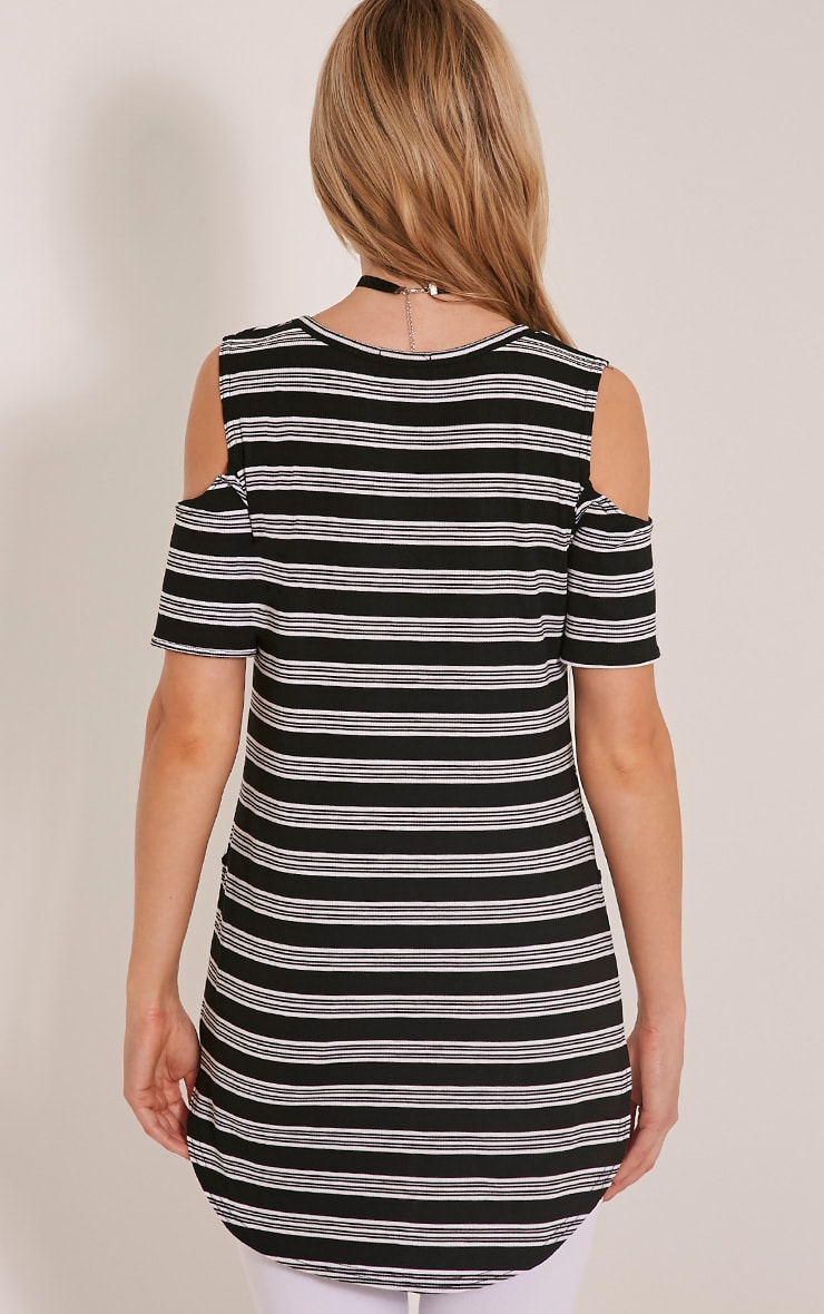 Andie Black Striped Cold Shoulder T Shirt 3