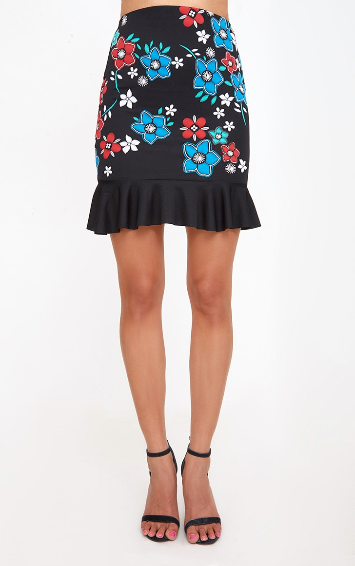 Black Embroidery Printed Frill Hem Mini Skirt 2