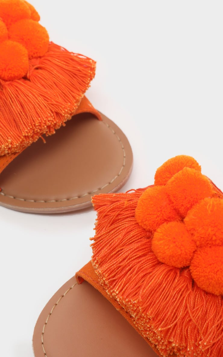 Orange Pom Pom Leather Sandal 4