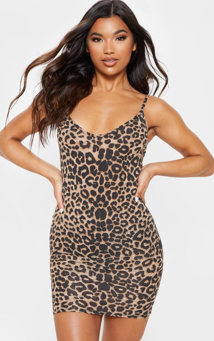 Leopard Print Strappy Plunge Bodycon Dress 1