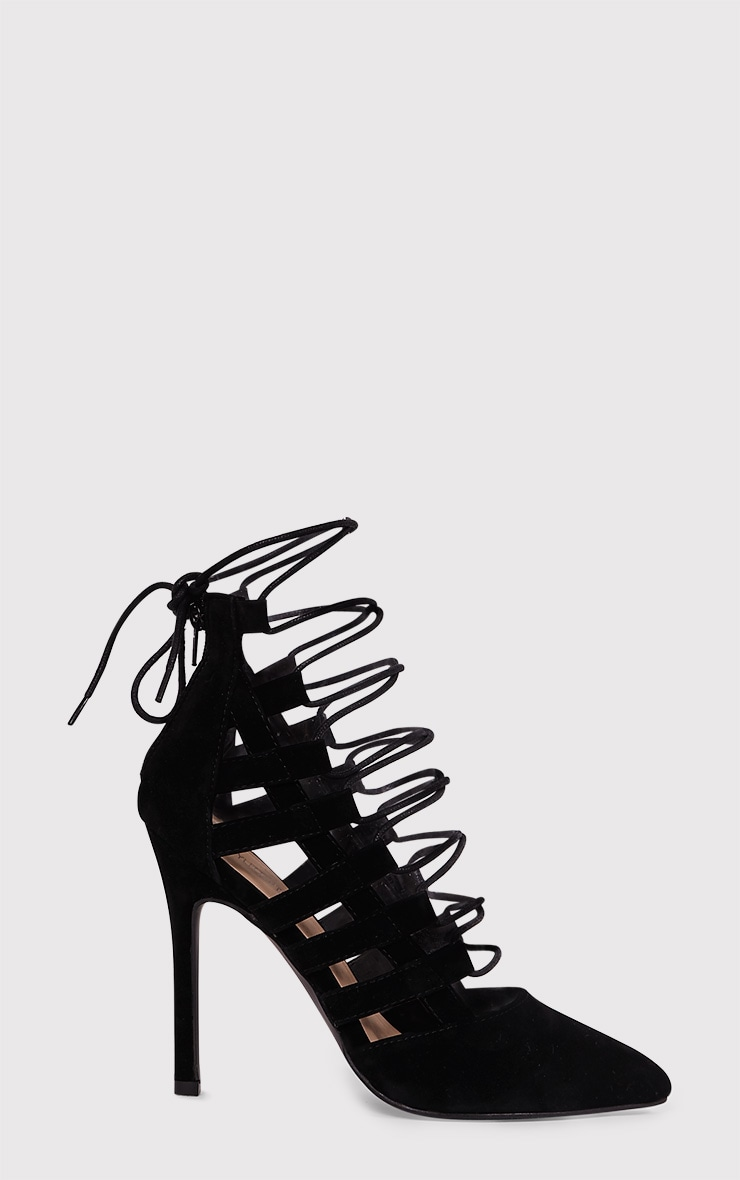 Amaris Black Pointed Strappy Heels 1