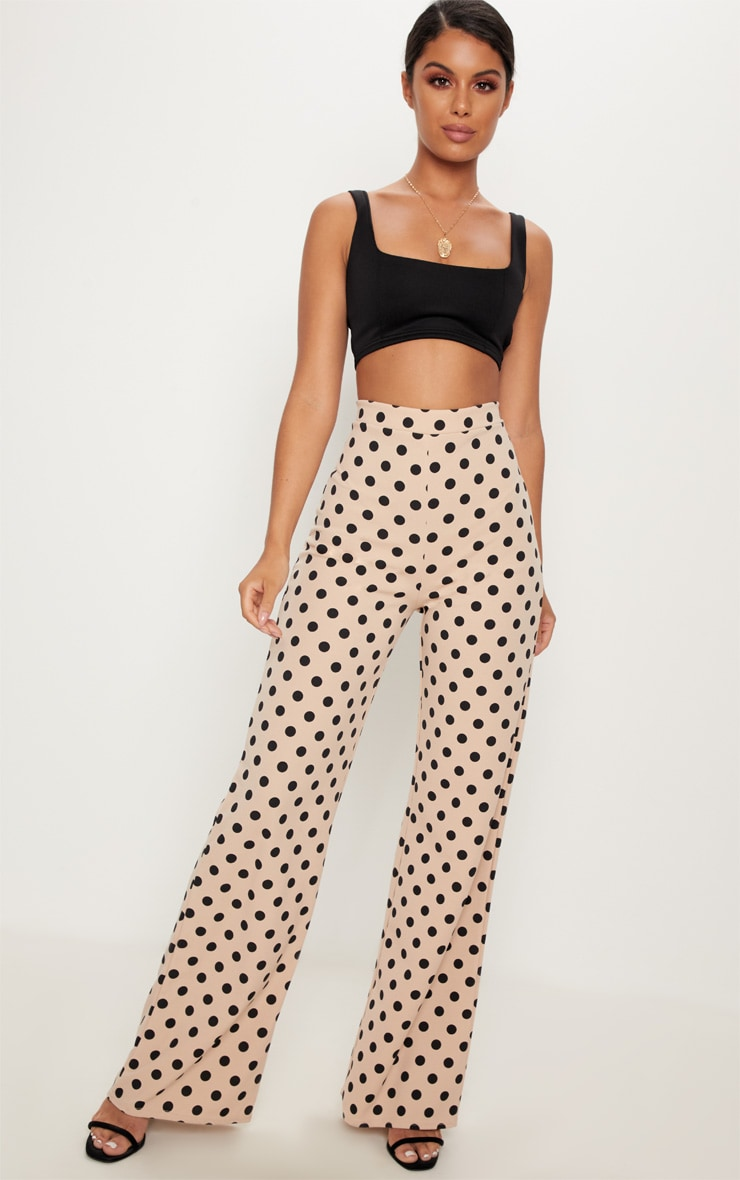 Stone High Waisted Polka Dot Wide Leg Trouser  by Prettylittlething