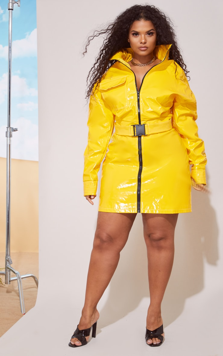 Plus Yellow Vinyl Zip Detail Mini Skirt 5