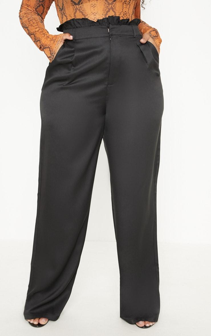Plus Black Paperbag Wide Leg Pants 2