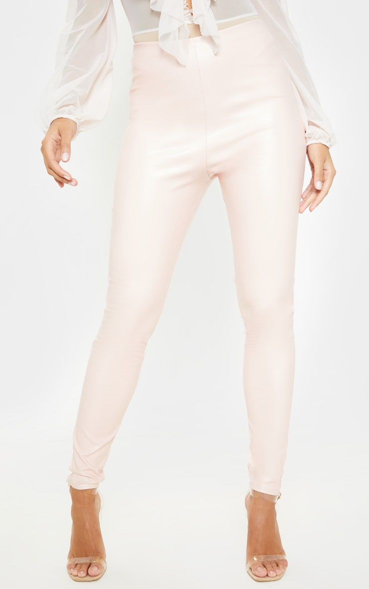 Baby Pink Faux Leather High Waisted Leggings -8599