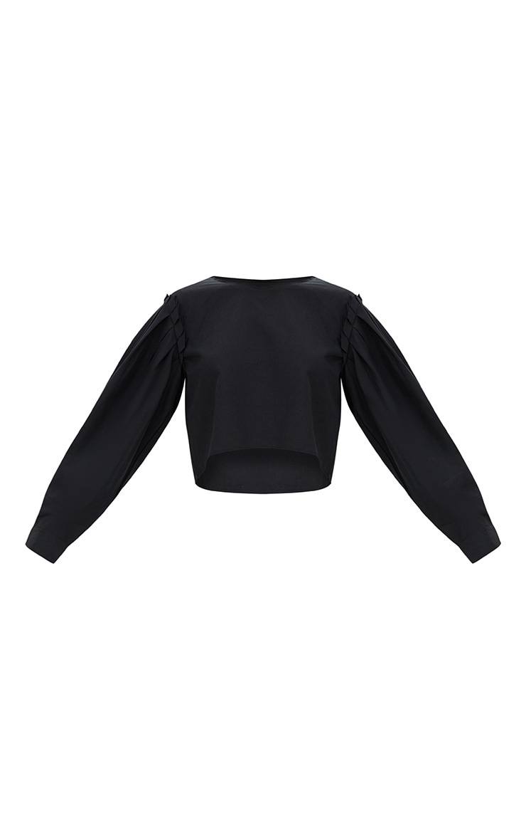 Black Pleated Puff Shoulder Crew Neck Shirt 3