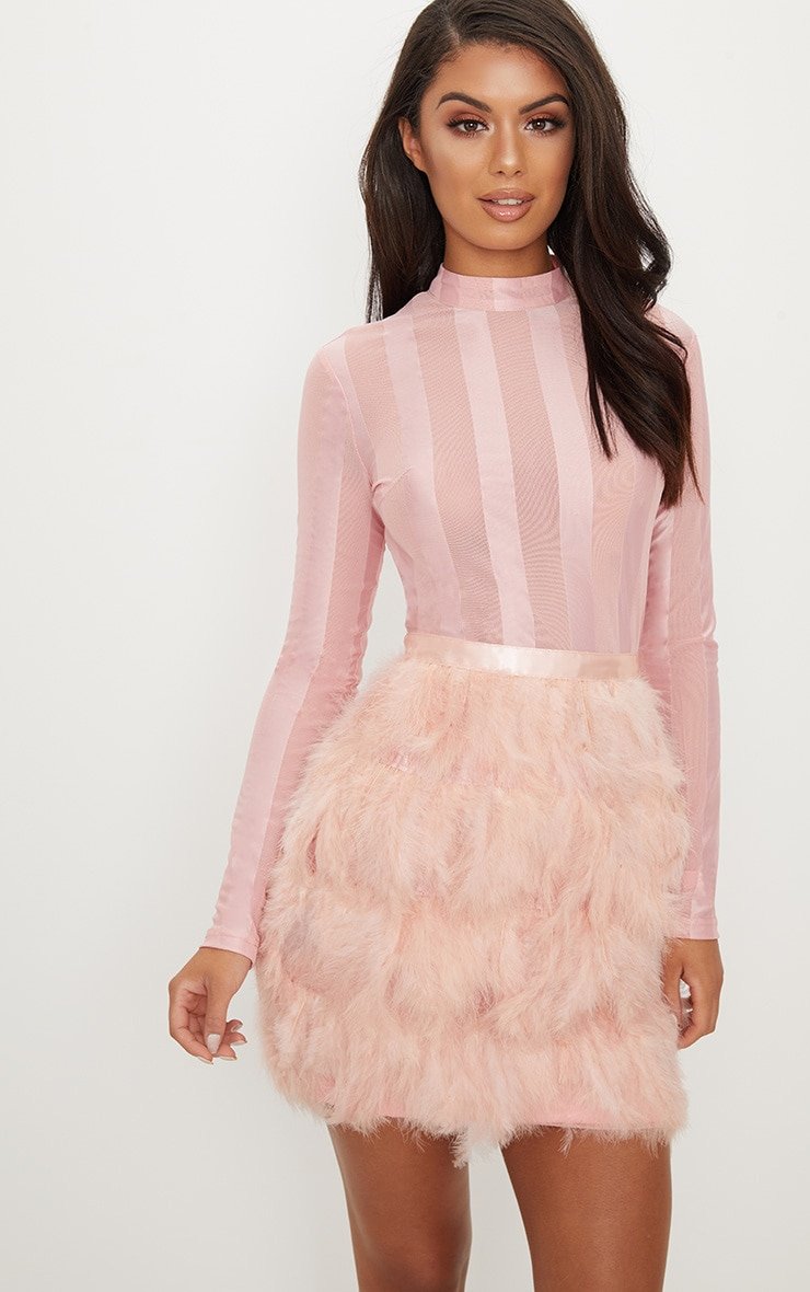 Dusty Pink Feather Skirt Bodycon Dress 1