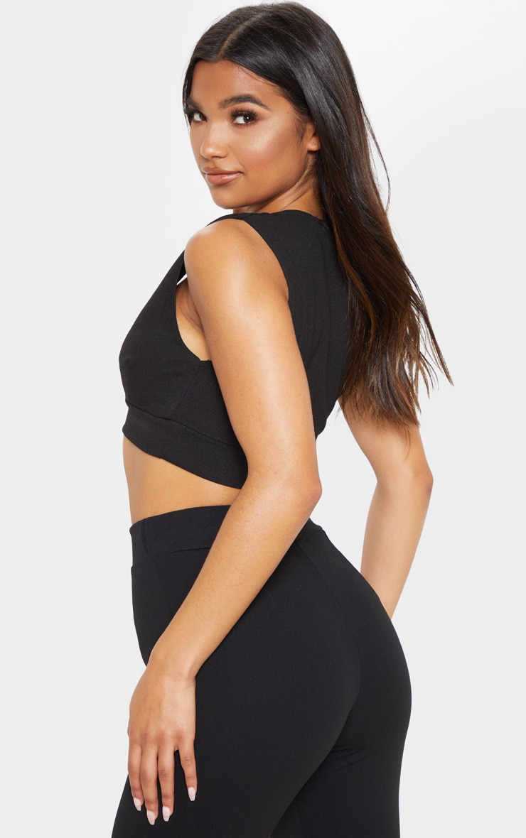 Black Cut Out Trim Detail Crop Top 2