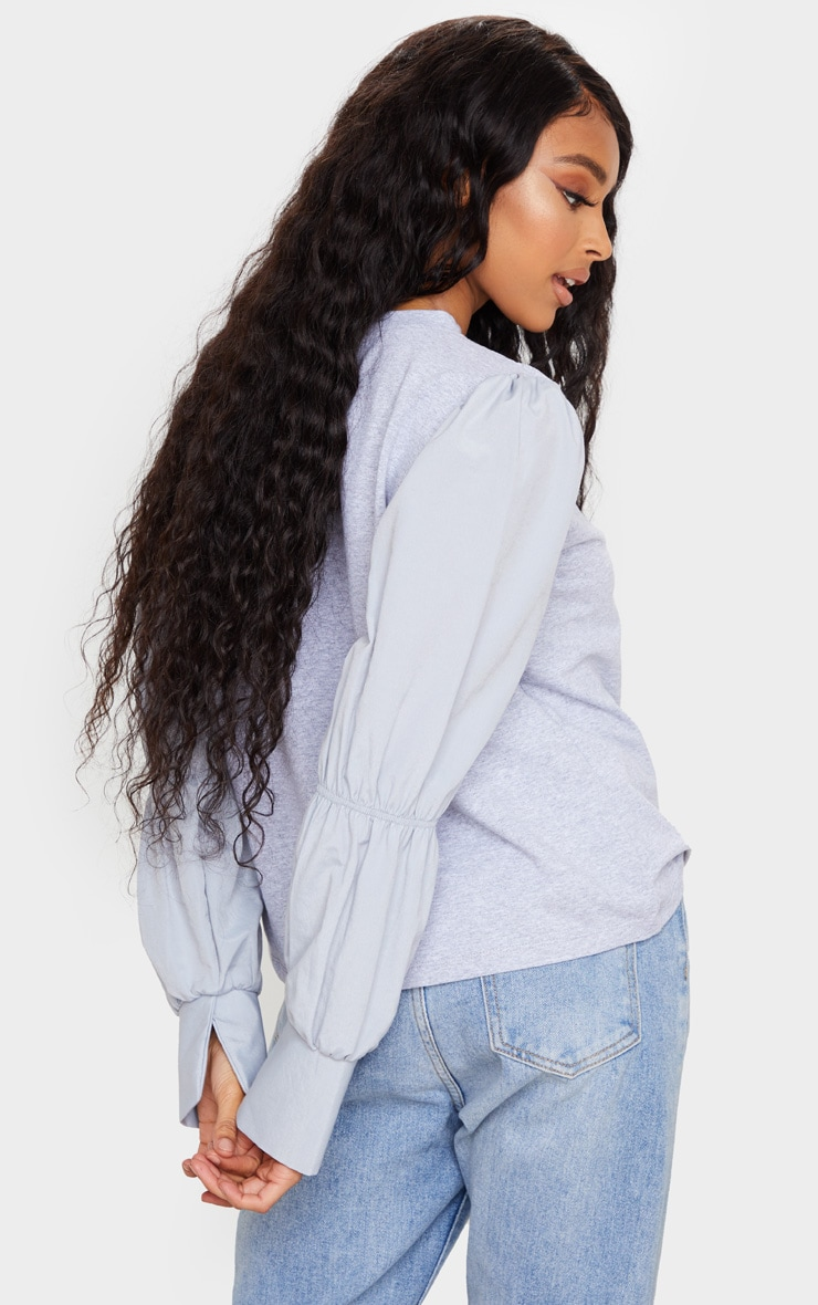 Grey Marl Ruched Longsleeve Top 4