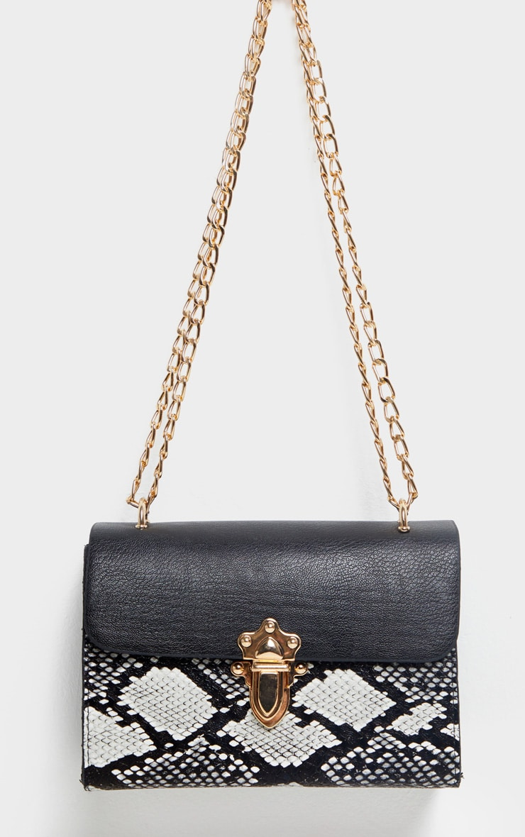 Black Snake Contrast Cross Body Bag 3