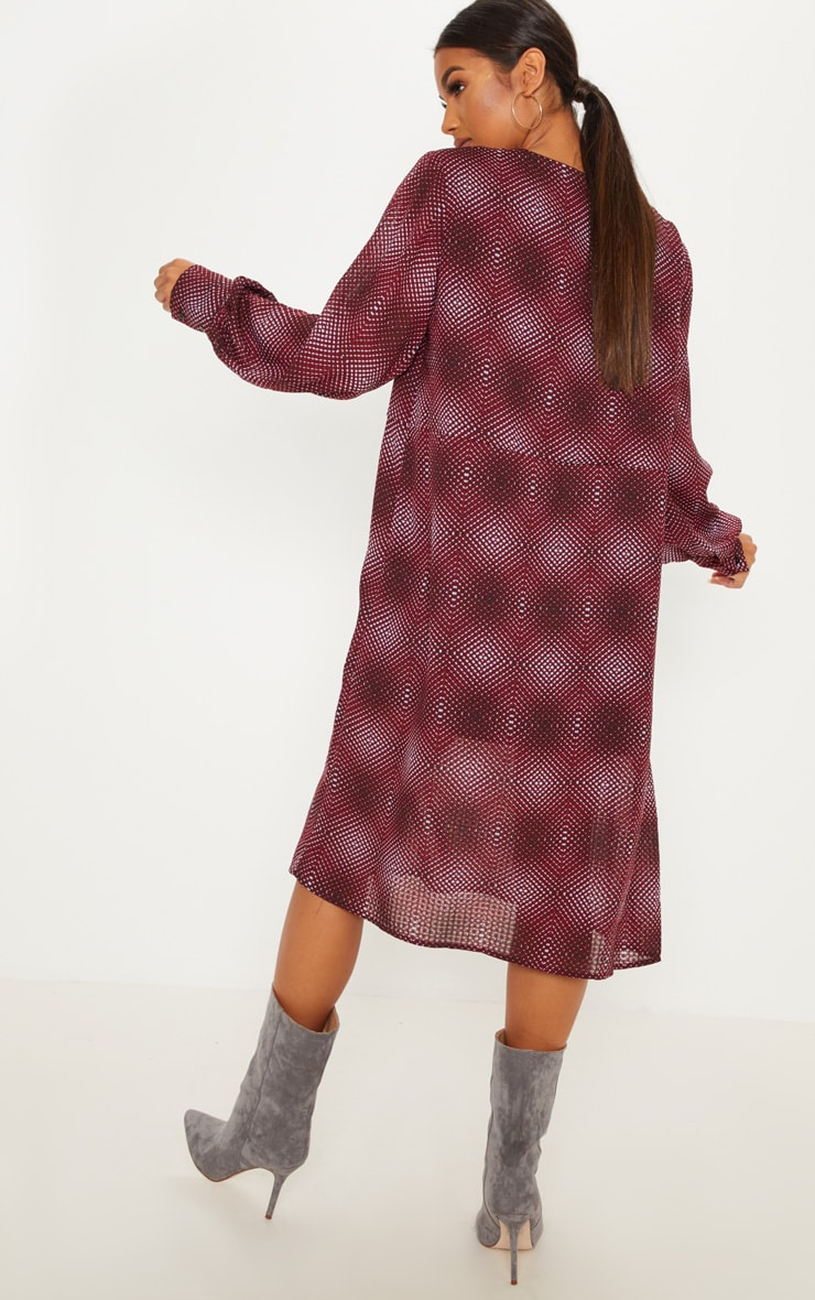Burgundy Geometric Printed Midi Shift Dress 2