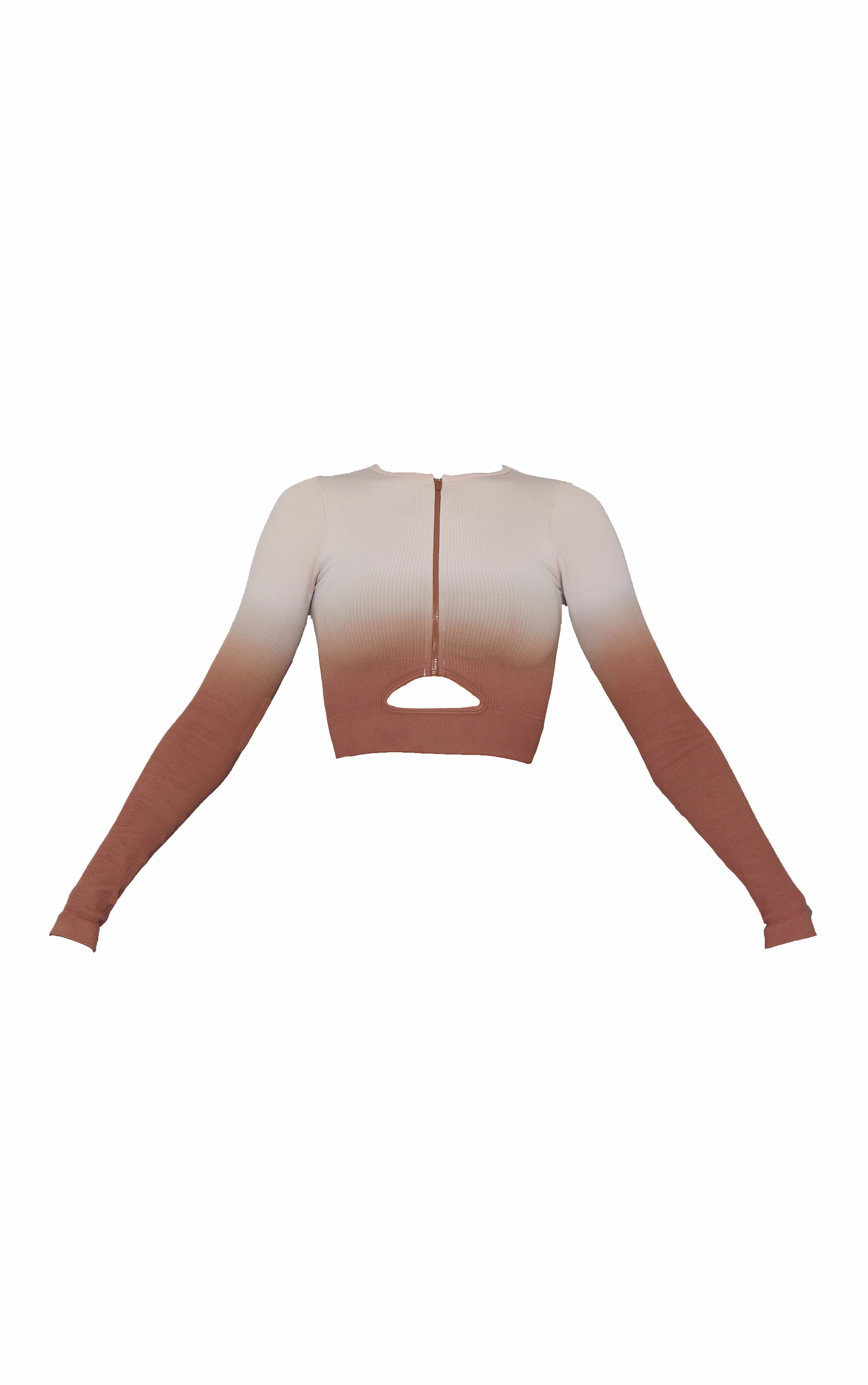 Brown Ombre Ribbed Seamless Zip Up Sports Jacket 5