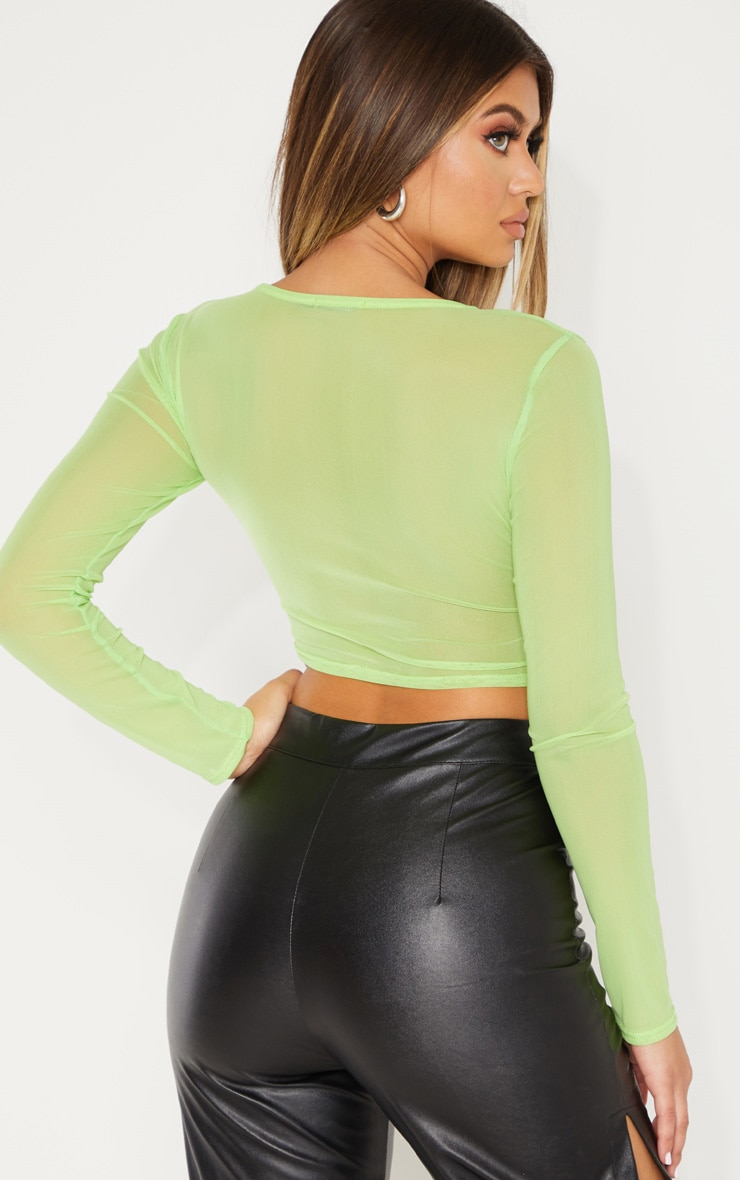 Light Lime Mesh Wrap Long Sleeve Crop Top 2