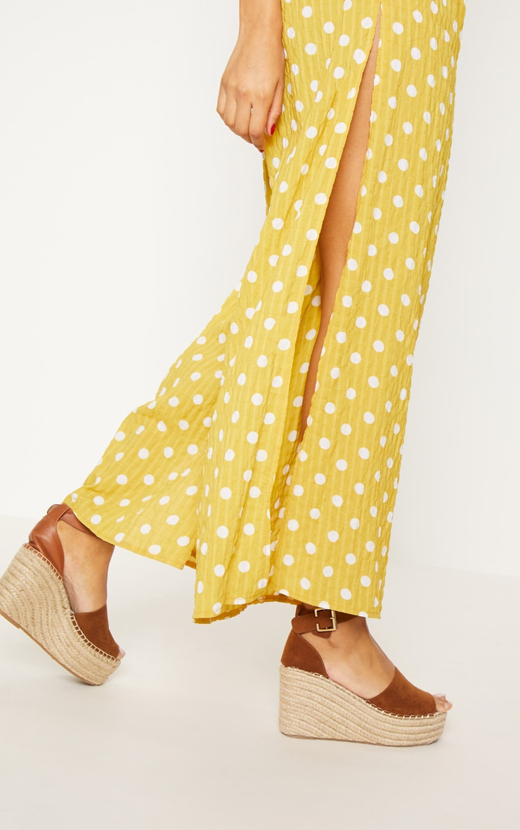 Mustard Cheesecloth Polka Dot Wide Leg Trousers  6
