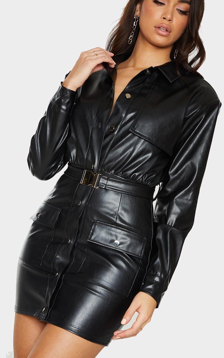 Black Faux Leather Multi Pocket Detail Utility Shirt Dress 4
