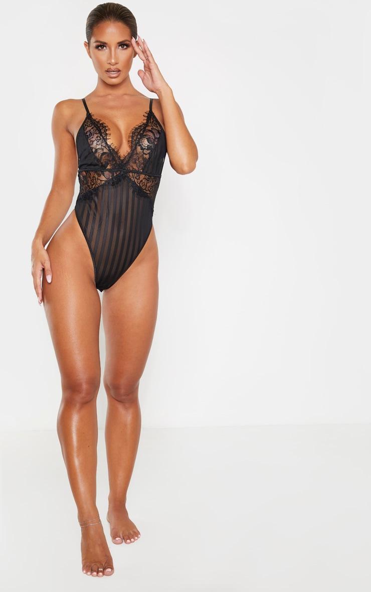 Black Lace Insert Striped Body 4