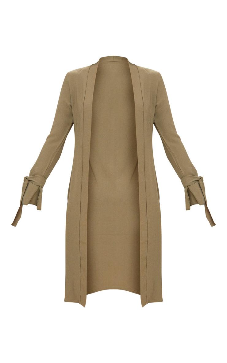 Aba Khaki Sleeve Tie Detail Duster Jacket 3
