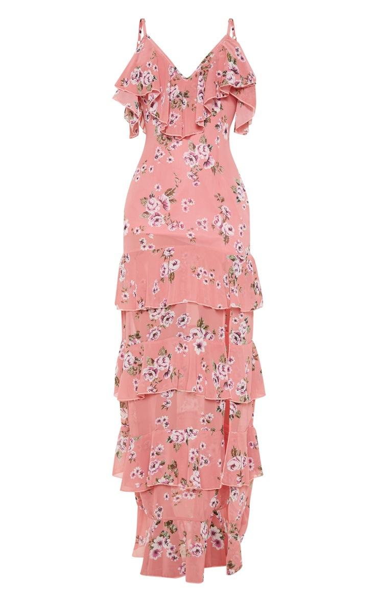 Robe longue rose imprimée à volants et fente sur le côté 3