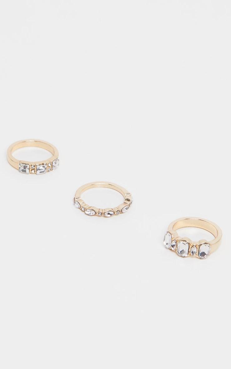 Gold Three Set Diamante Rings 2