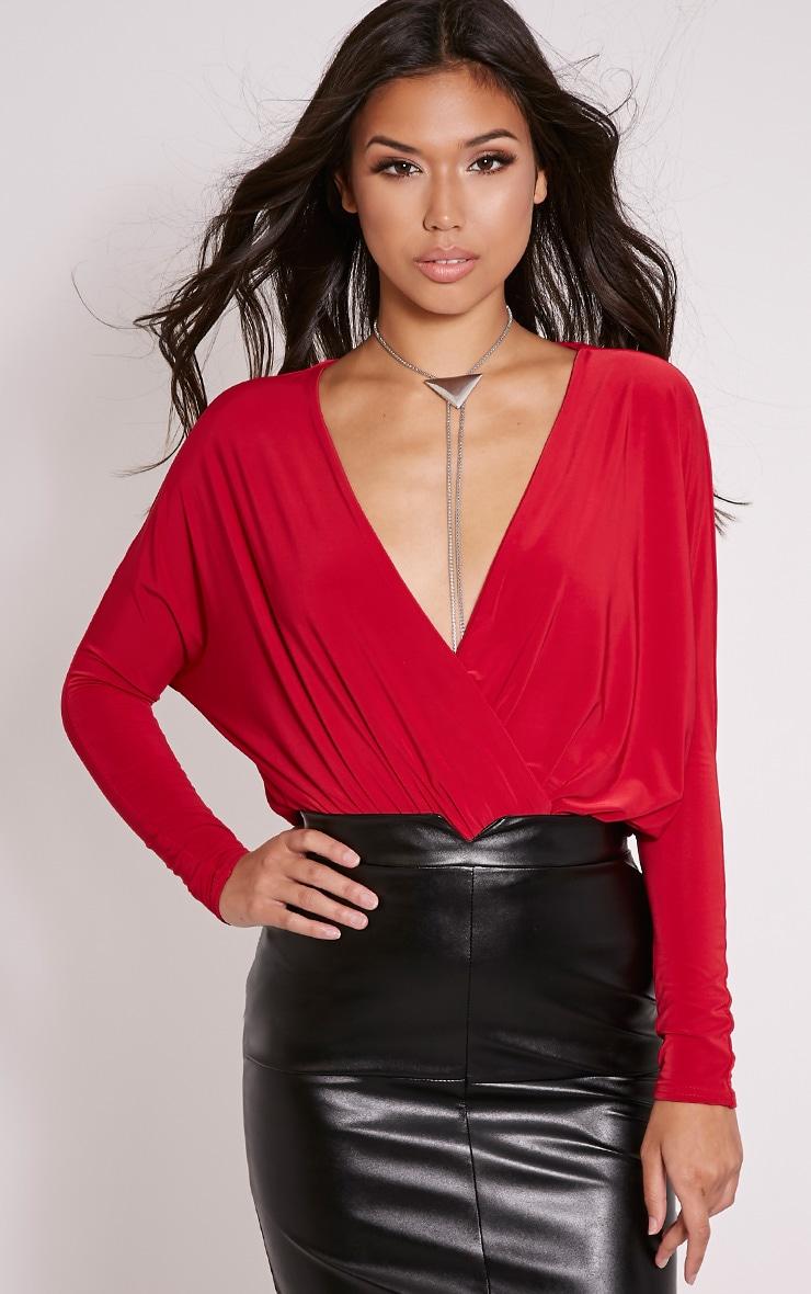 Talia Red Long Sleeve Cross Front Bodysuit 1
