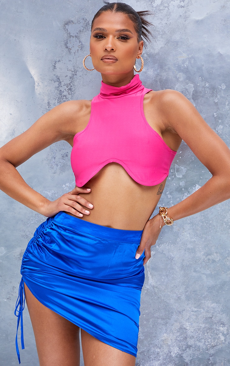 Cobalt Front Ruched Mini Skirt 4
