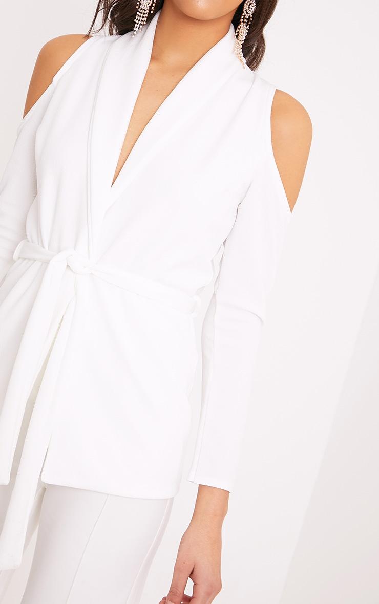 Orabelle White Cold Shoulder Belted Blazer 5