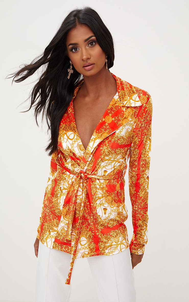 Red Chain Print Velvet Belted Blazer 1