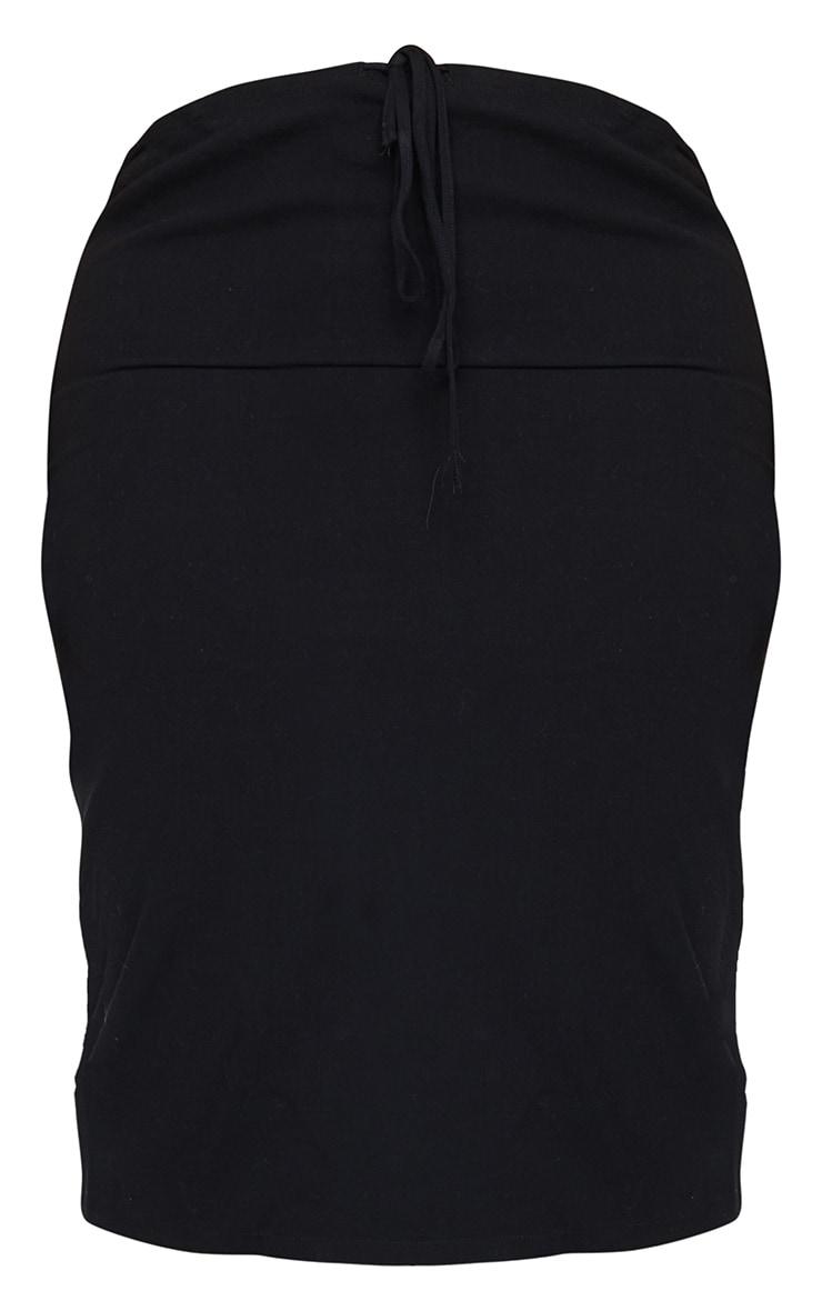 Plus Black Woven Tie Wasit Midi Skirt 5