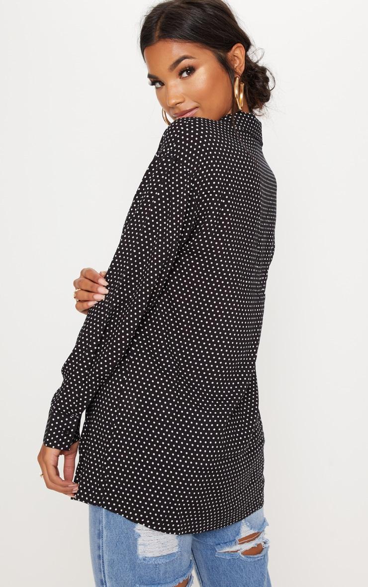 Chemise boutonnée noire à pois 2