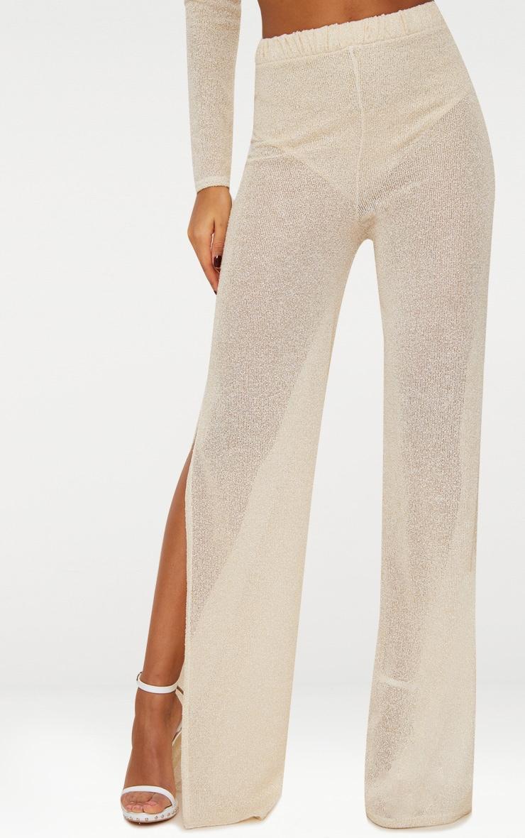 Gold Glitter Knit Flare Trouser  3