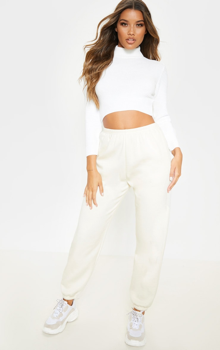Cream Ribbed Cropped Knitted Sweater 4