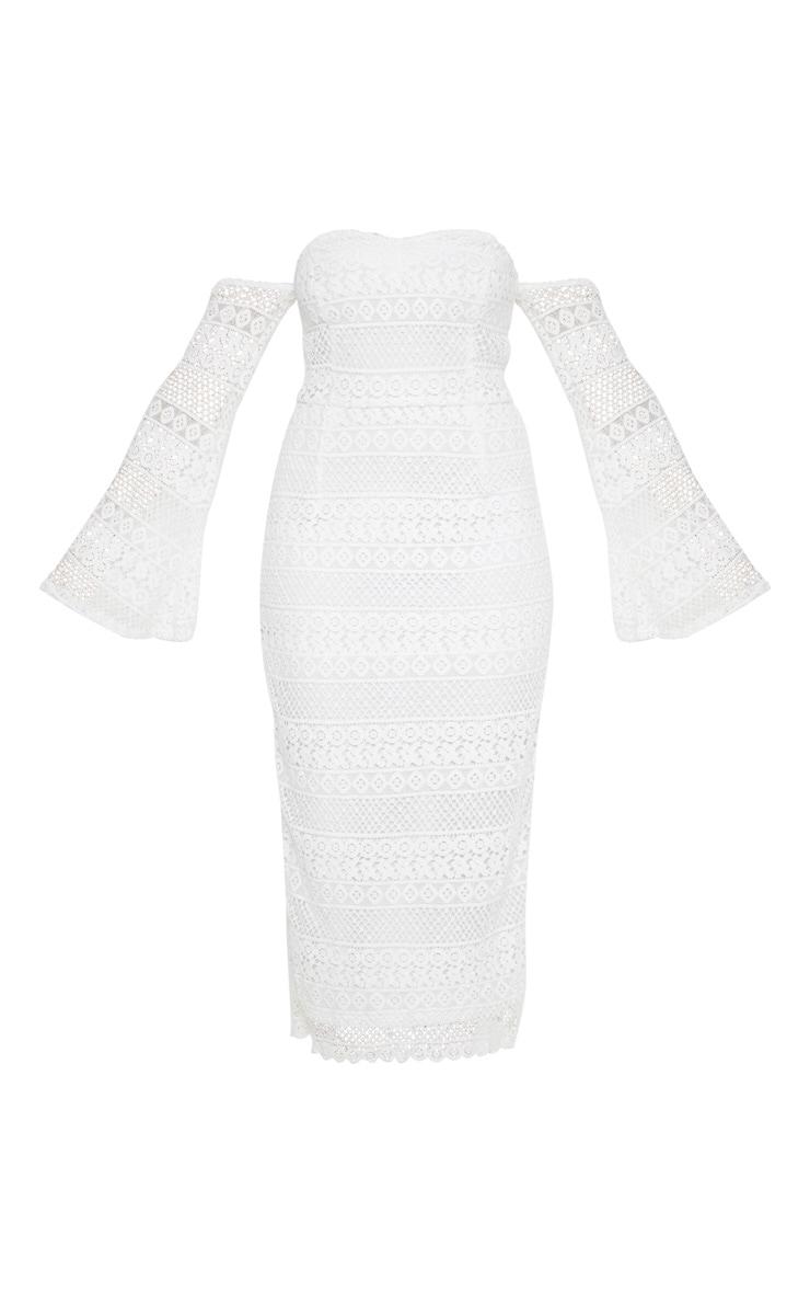 White Lace Bardot Bell Sleeve Midi Dress 3