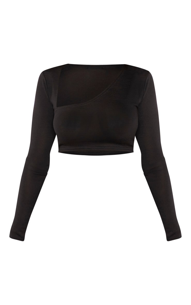 Shape - Crop top en jersey noir à découpes 3