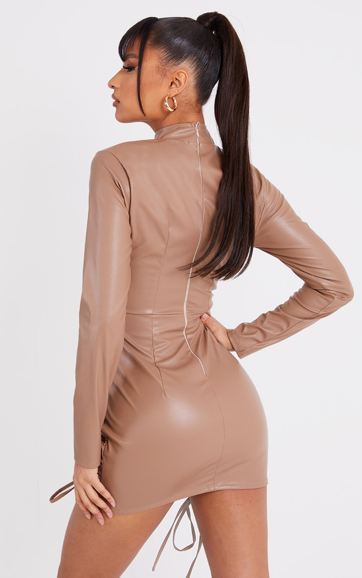 Stone PU High Neck Long Sleeve Ruched Skirt Bodycon Dress 2