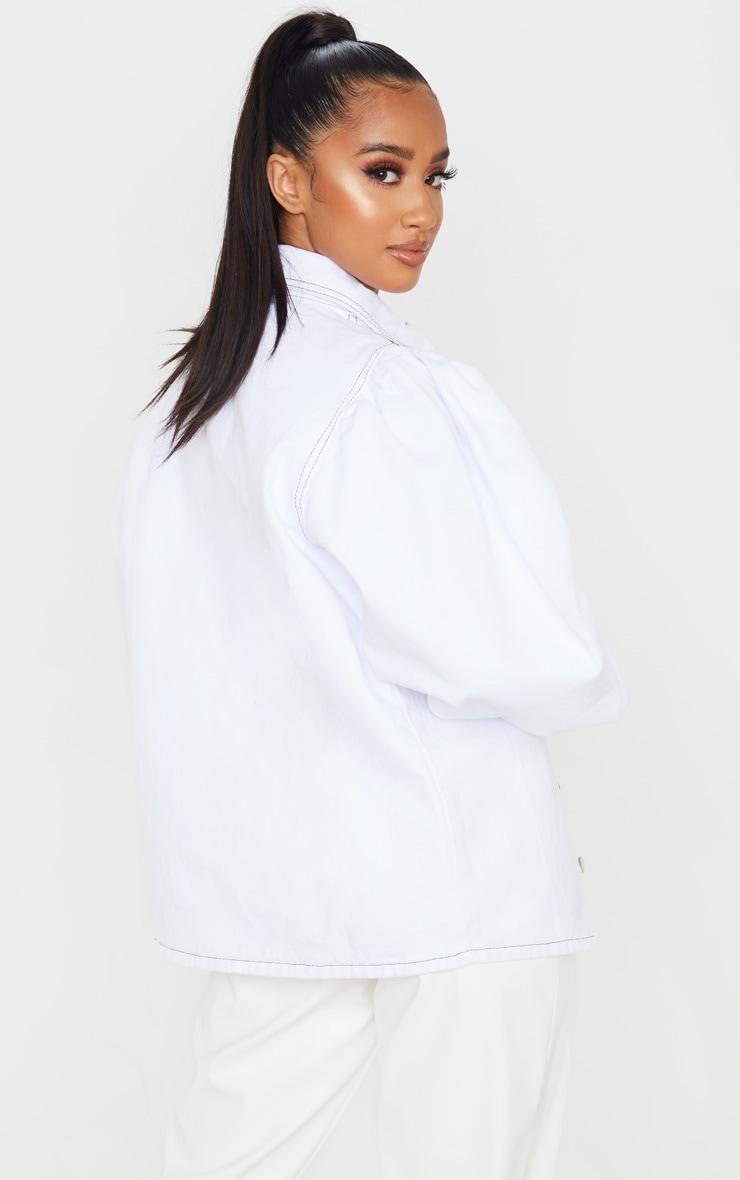 Petite - Chemise en jean oversize blanc à manches bouffantes 2