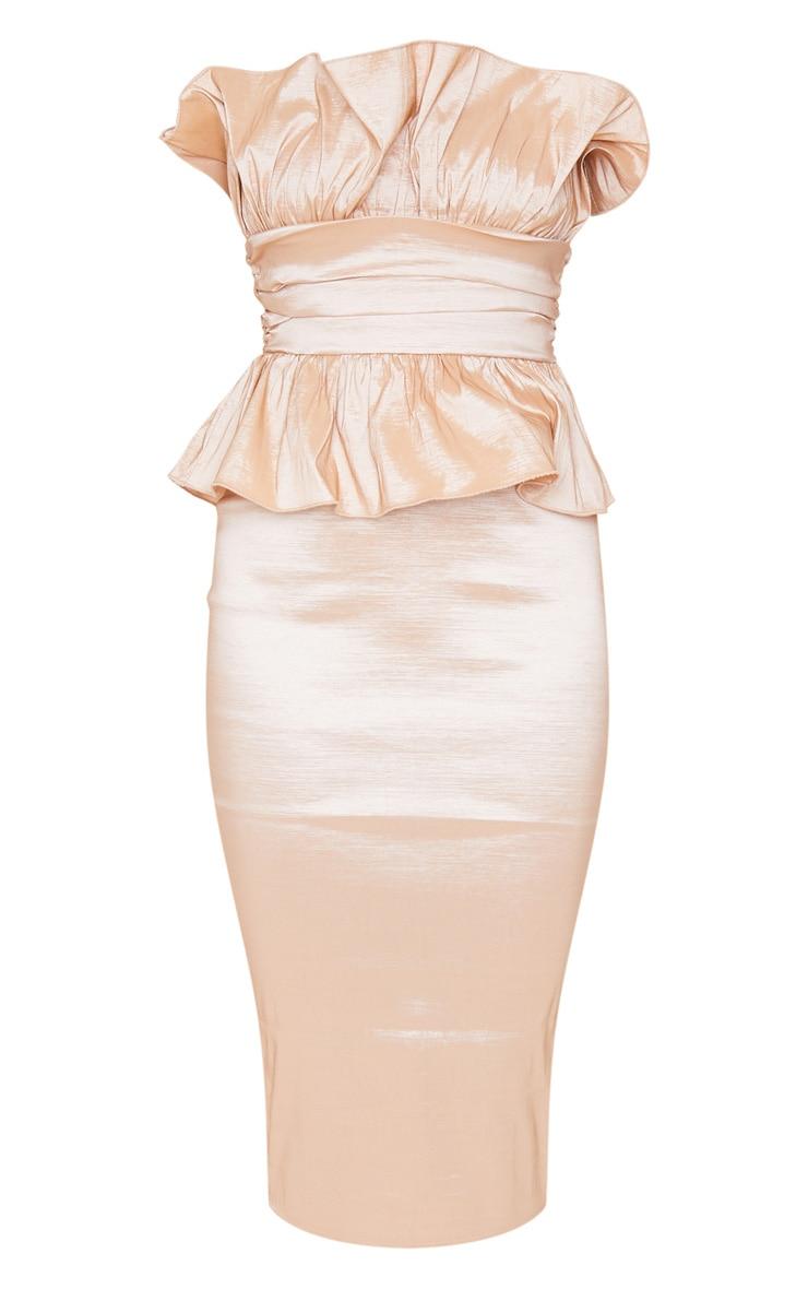 Champagne Bandeau Frill Detail Midi Dress 3