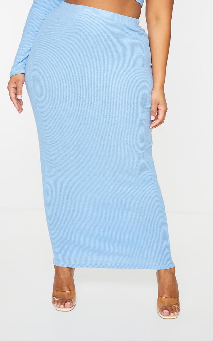 Plus Baby Blue Brushed Rib Midaxi Skirt 2