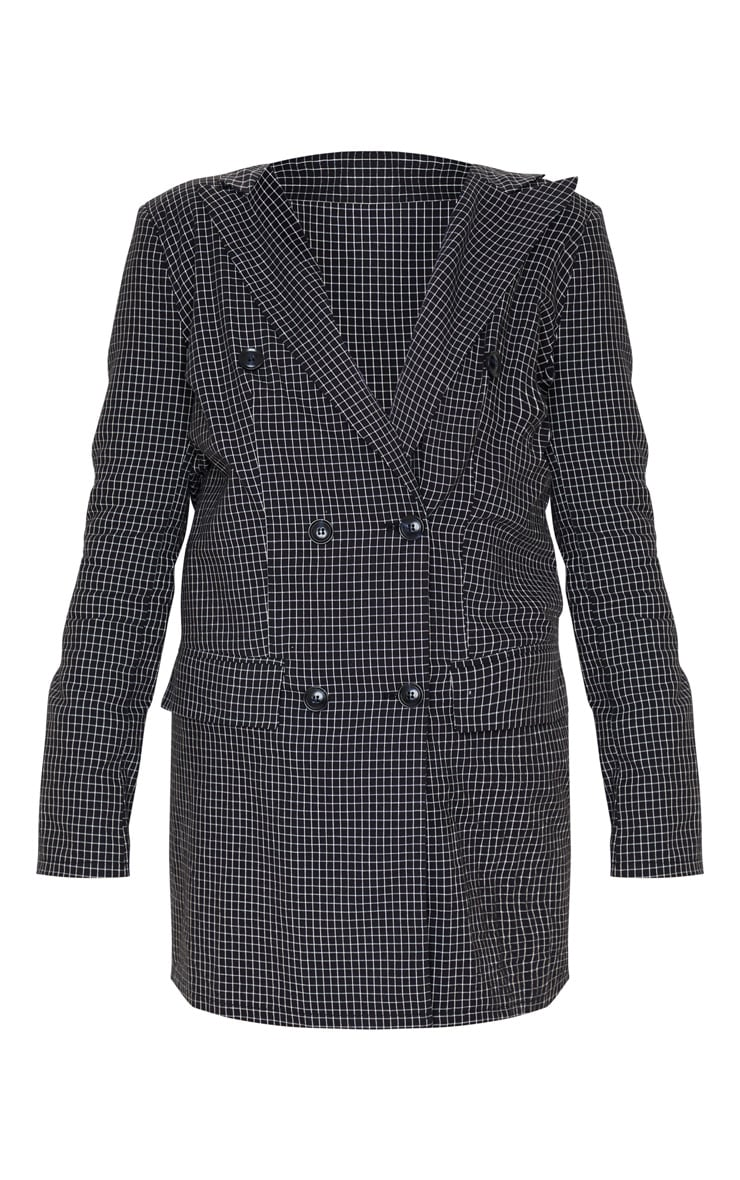 Black Check Print Oversized Button Front Blazer Dress 3